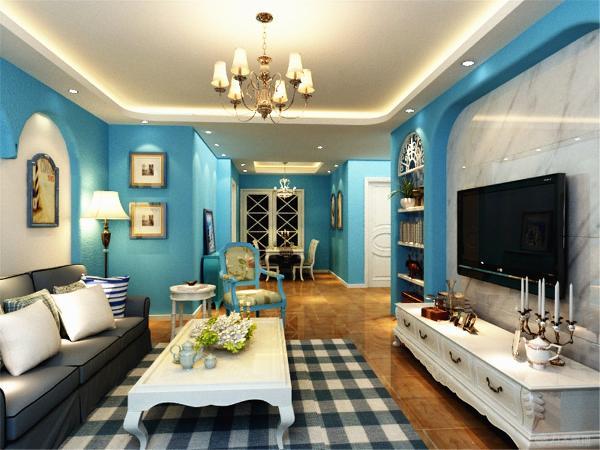 本方案是以蓝色和白色为主,电视背景墙是对称的造型,电视后面的墙是石材干挂,两侧放有装饰品,