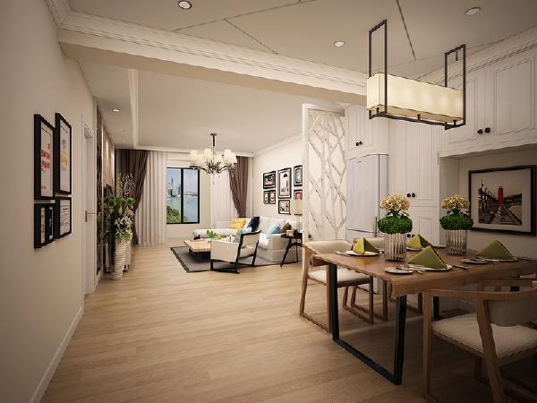 客厅 浅色地板的通铺使空间看起来宽敞又明亮,黑白搭配的家居时尚又干净利落,吊顶的线条分割打破单调,几何形状简约有内涵。