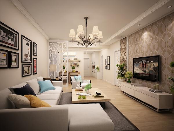 客厅 波普风的电视背景墙带来未来家居的科技感,也为黑白家居增添色彩,另外一个增添色彩的是软装的搭配。黑框挂画时尚大气。