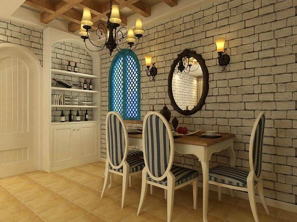 餐厅中,餐椅也是选用白蓝条形的椅子。窗户是以拱形窗户蓝色去设计的,还有旁边的酒柜,上面是以半拱形组成的。这样可以体现出地中海的特色。