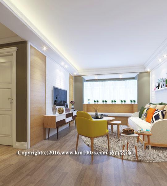 客厅:半圆状格局,在扇形地毯的铺摆下,缓缓打开,呈现一种动态的优雅美。电视背景墙素洁一片,清亮大气。