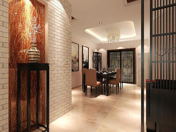 餐厅---餐厅中有一个中式风格明显的博古架,墙上有一对装饰画,这些细节的装饰反映了设计的巧思妙想。