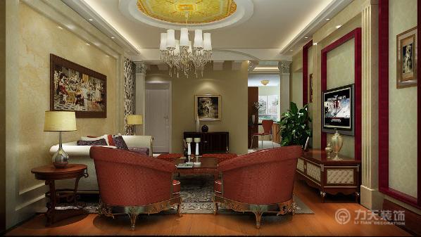 本案中,电视背景墙采用温润的石材框架做为装饰,中间的暗灯槽照射出的黄色光让室内更加温馨和谐,简单又不乏时尚感,沙发背景墙以一幅著名的油画装饰。