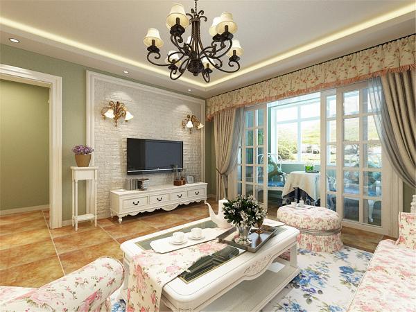 电视柜同样是典型的田园风格的白色造型。电视柜旁边放置的花架以及紫色的植物更是为整个空间增添了活力。
