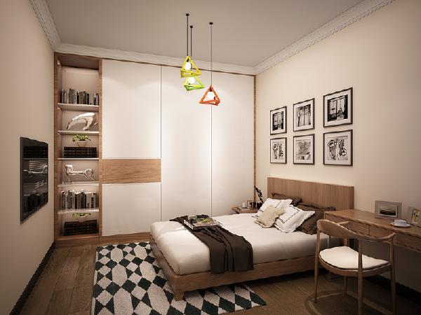 主卧原木色配合纯白色,营造日式氛围,在卧室的设计中图片