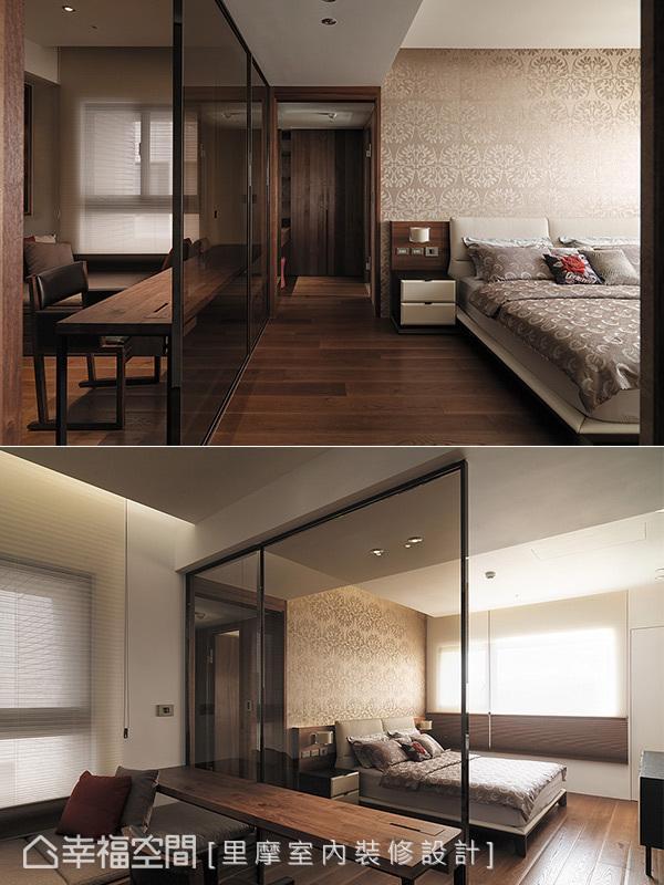 利用茶镜区隔出睡眠区与更衣室,书桌的配置让男屋主能随时处理公务,而卧榻区更满足休闲的生活步调。