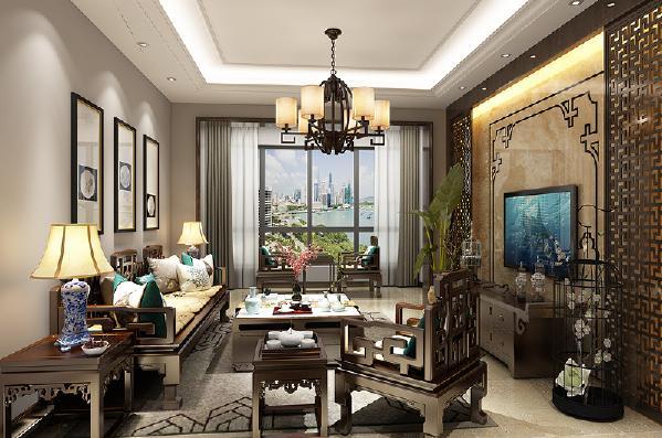 客厅 明清家具的选择提升家居格调与文化内涵,石材背景墙易于打理又能够轻松打造奢华感。有文化又有钱,这就是新中式。