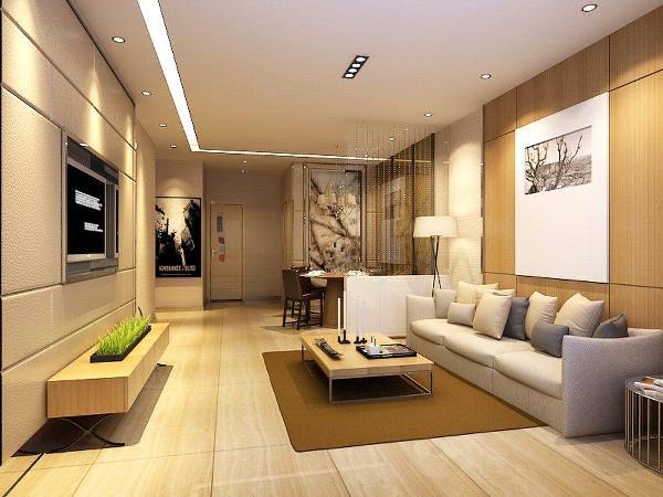 客厅沙发围绕着茶几,沙发独立成组靠在一角,给人一种舒适安静的感觉。吊顶只简单做了一个简单的灯带,加筒灯,突显简洁流畅的设计风格