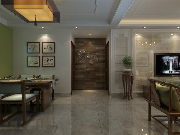 客厅通过木布家具、石材电视墙、浅灰地砖,中式灯,相互辉应,再现移步变景的精妙