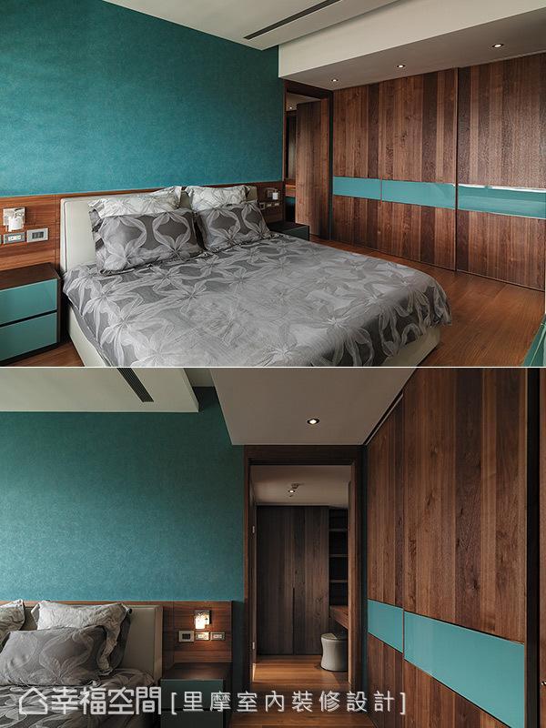 谢雅蓉设计师利用蓝色系做为空间用色,赋予大地色彩的卧室里摩登新意。