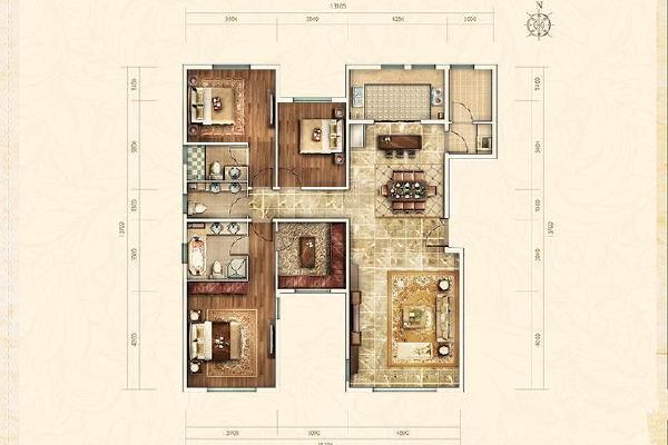 西山艺境三室两厅两卫户型图