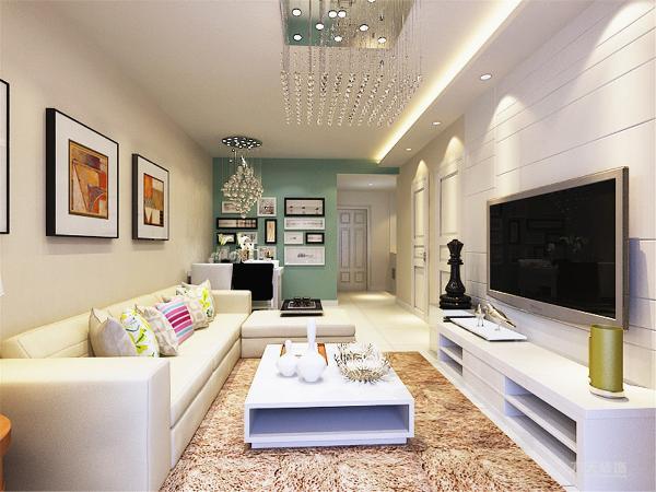 本方案客厅做了一个边顶,显得空间更有层次。餐桌的墙上刷绿色乳胶漆,显得屋内气氛更有生气。现代简约风格,家具需要完美的软装配合,才能显示出美感。