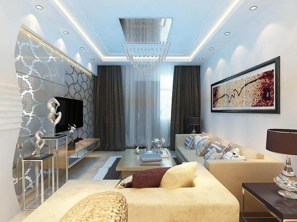 电视背景墙采用的石膏板做的一个几何形造型,即简单又大方,再加上现代强的几何晶格图形的超现代感壁纸,配上客厅顶面的回字吊顶,和顶上局部照射下来的灯光,使整个电视背景墙把客厅提升起来。