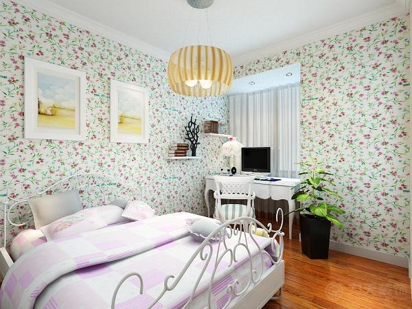卧室的布置较为温馨,作为主人的私密空间,主要以功能性和实用舒适为考虑的重点。墙面用碎花图案的壁纸做装饰。没有过多的造型。