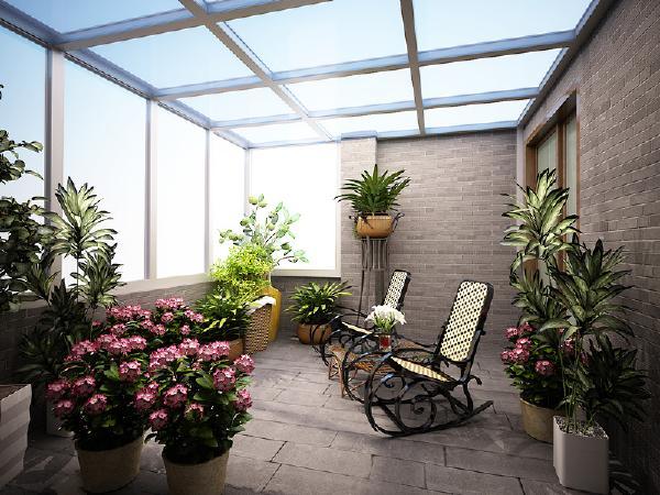 阳台 阳光房是整个装修的亮点哦,墙面和地面的处理富有田园气息。种点花花草草,喝喝茶,就是人生赢家的生活啦。