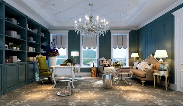 欧式客厅顶部喜用大型灯池,并用华丽的枝形吊灯营造气氛。门窗上半部多做成圆弧形,并用带有花纹的石膏线勾边