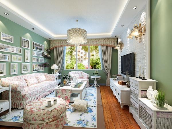 就是想通过装饰装修表现出田园的气息。更贴近自然,向往自然的风格。客厅的电视背景墙采用了仿砖的材料,让人一眼看上去的那种粗糙感,更体现出朴实,自然。