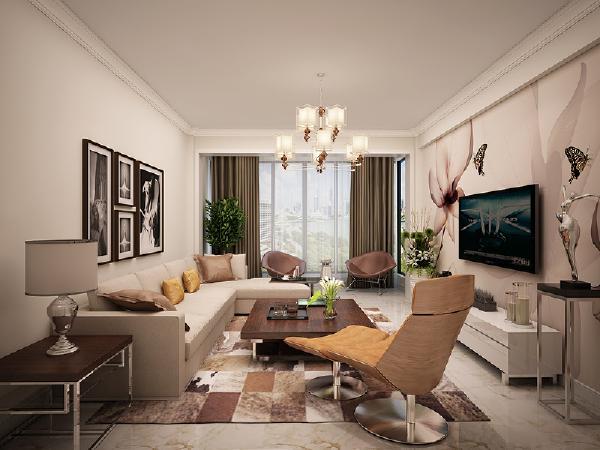 客厅 电视背景墙的装饰性强,有个性,色彩又不浮夸。沙发背景墙的黑吧挂画柔和优雅。地毯造型符合整体配色。