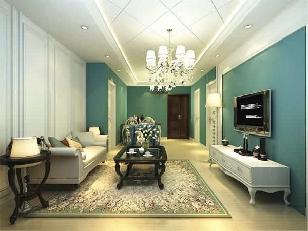 本案中客餐厅选择了绿色的乳胶漆,沙发背景墙搭配白色木板与白色沙发和电视柜相互呼应,使整体并不是那么突兀,简单又不乏时尚感