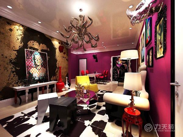 客厅略带一些波谱艺术风格形式,红色的墙,白色的吊顶,格格条纹的地毯,粉紫色大吊灯,充分显示出PUNK的风格。