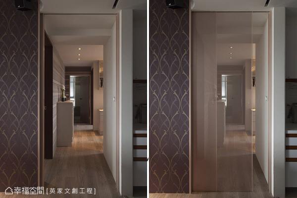 在餐厅与厨房间设置一片半透明的拉门,成为公领域通往客房的通道,门片还可随屋主需求,弹性作开阖之用。
