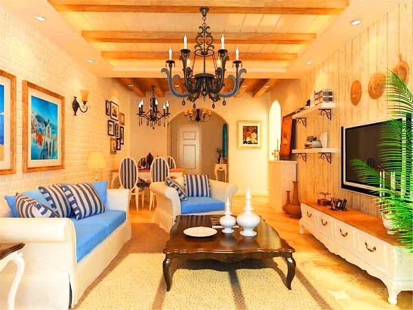 客厅餐厅在同一个空间,地面采用米黄色仿古砖,四周用波打线圈边,沙发背景墙用硅藻泥做成砖缝纹理的样子,上面挂上蓝白色系的挂画,使空间氛围清凉干爽