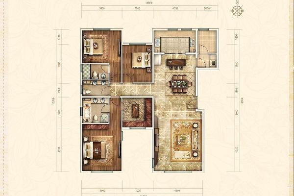 远洋天著别墅三室两厅三卫户型图