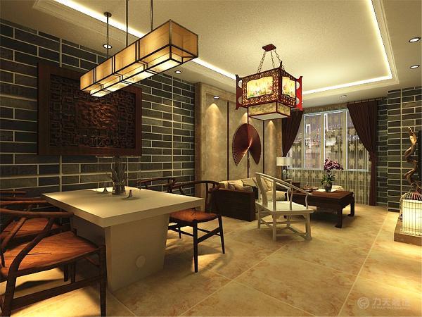 家具则选择木质传统的中式家具,使客餐厅显得特别高贵和沉稳