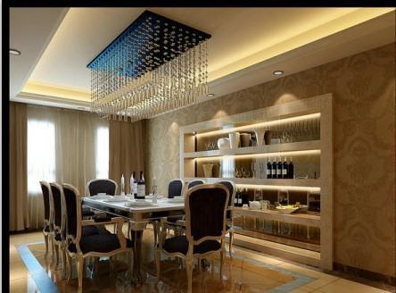 餐厅:餐厅上方做一个简单的吊顶,餐厅周围摆放一个餐边柜,让餐桌临近窗户,将院内风光尽收眼底,使人在轻松舒适的氛围下就餐。