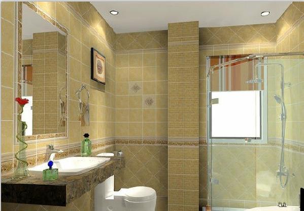 卫生间:浅黄色墙面,白色吊顶,这个搭配让人看上去温馨,舒适。加上灯光,立刻使整个空间明亮起来。