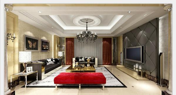 大面积的玻璃窗带来了良好的采光,落地的窗帘很是气派。沙发组合有着丝绒的质感以及流畅的木质曲线,将传统欧式家居的奢华与现代家居的实用性完美地结合。客厅空间足够充裕,敞开式的客厅更加提供了一个视觉中心。