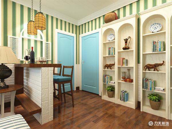 吧台同样采用白砖的设计。由于客餐厅一体餐厅面积相对较小,所以采用吧台的设计既满足用餐的需求,有有效的个分割空间,使空间看起来宽敞。
