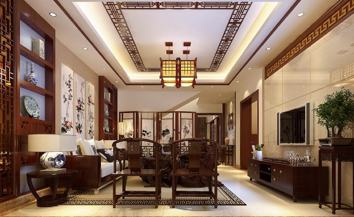 本案为新中式设计风格,立面上的设计,电视背景墙巧妙的用凹凸木线装饰