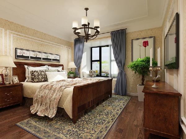 主卧室:     地面采用实木地板,亲和力更强,更舒适。墙面采用了暗花无纺布壁纸,使整个卧室都是暖暖的、温馨的。