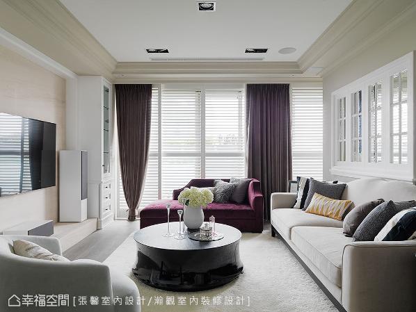 百叶窗除了是美式设计中不可或缺的元素,也筛进丰沛的日光,洒落在全室的雾乡底色上,自然增温空间暖度。