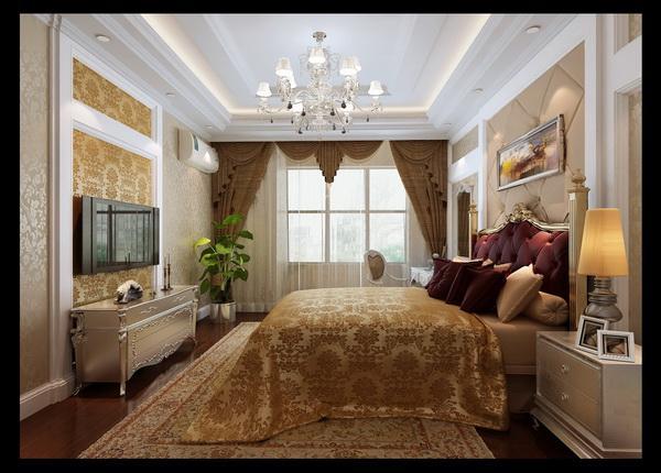 客厅作为与餐厅连通的客厅是主人休闭娱乐的最佳空间,也是全家人相聚最久的空间。所以把整个空间做出奢华、稳重、明亮、温馨的暖色简欧色调。