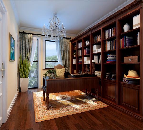 书房采用深色木质书柜和书桌,典雅有内涵,显示了房主的文化品位