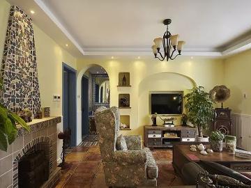 90平米美式混搭地中海浪漫婚房