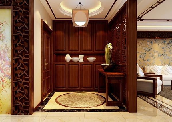 开门入户 映入眼帘的是一个典型的中式条案与木质万字花窗为背景的玄关屏风,顶地呼应天圆地方