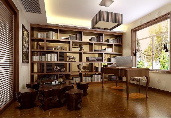 采用书房与客房相结合的家具摆放,比较实用一举两得。