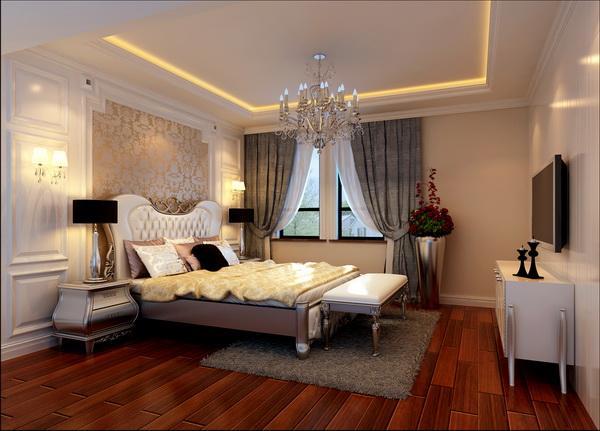 卧室床头背景墙铺贴欧式花纹壁纸,温馨浪漫,营造舒适的睡眠环境