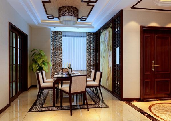 客厅、餐厅中的壁画、花格具有浓重的中式味道,与具有现代潮流的大理石电视背景及抛釉地砖结合在一起,让人有一种类似穿越的兴奋