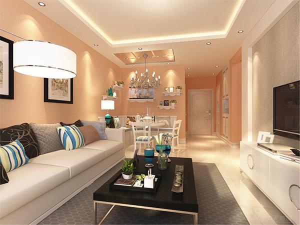 本案电视墙面壁纸的设计是整个住宅空间的亮点,运用了壁纸,其他墙面刷裸色墙漆,营造出现代化空间。