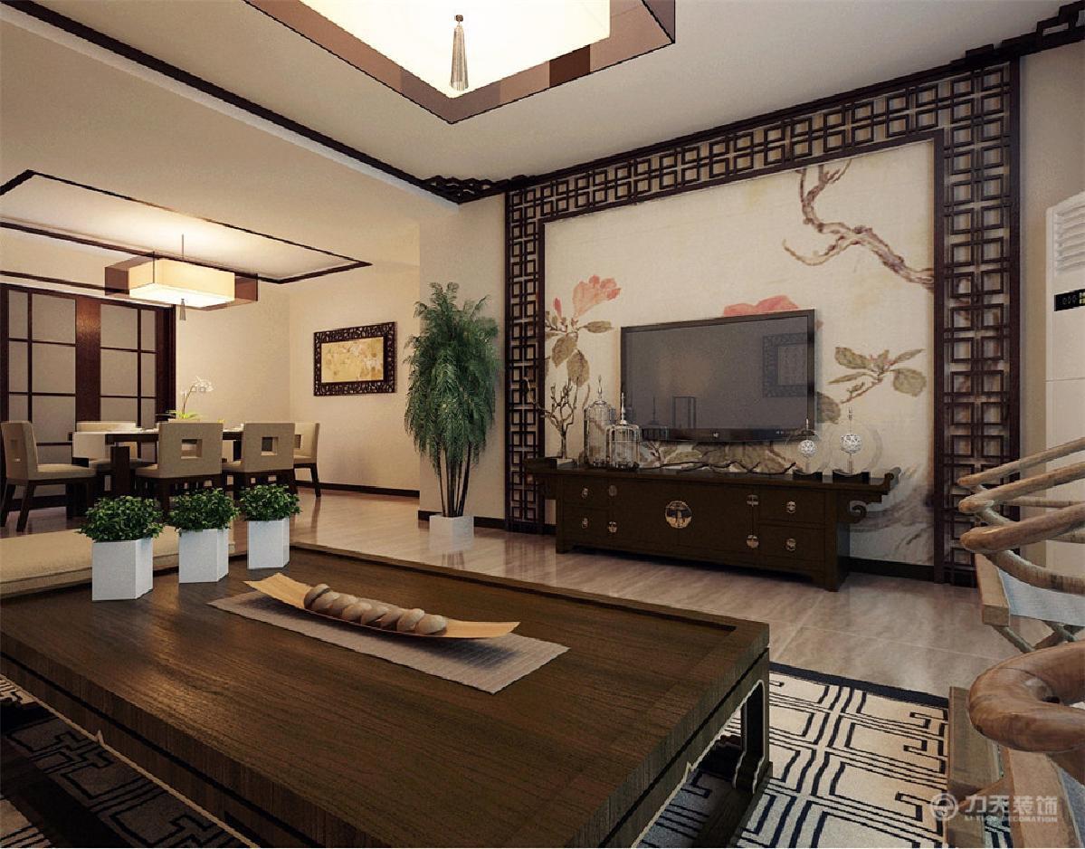 内部运用新中式现代工艺,浅色浓郁的中式电视背景墙,搭配深色镂空花格图片