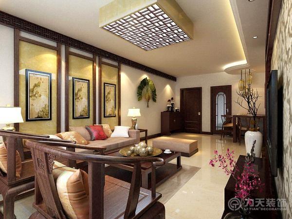 餐厅部分由于空间较小,所以没有做过多复杂的造型,只简单饰以中国字画;