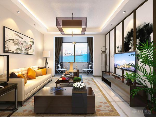 此户型设计风格为新中式,整体以暖色调为主。客厅顶面为回字形吊顶,用以划分空间区域。