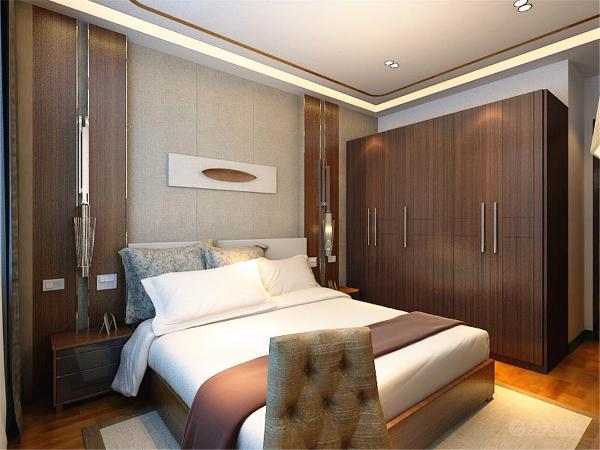 床头背景墙中间采用软包,两边是拉缝木板,与客厅相对应,整个空间都采用木地板。整体的家具摆设彰显出浓厚的新中式氛围。
