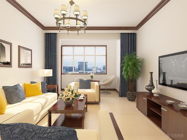 客厅位置中式木质与布艺的完美结合淋漓尽致的体现了新中式的风格特点。