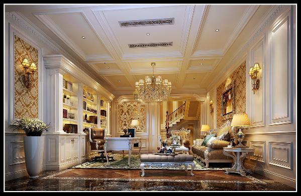 起居室:空间的气质延伸到每个空间,稳重大方的书房兼起居室足见客户的品味非凡。