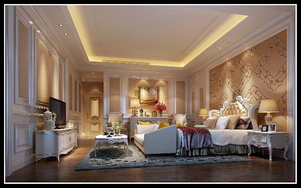 二层套房:通过安静温馨的材质打造温暖的卧室空间